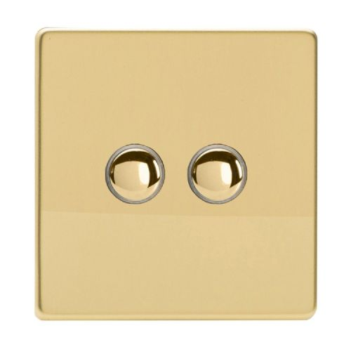 Varilight IJDVS002S Screwless Polished Brass 2 Gang Touch Dimming Slave (use only with Master)